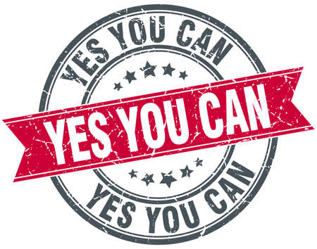 can yes you can: yes you can red round grunge vintage ribbon stamp