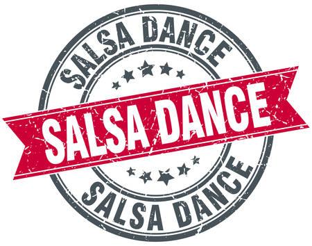 salsa dance: salsa dance red round grunge vintage ribbon stamp