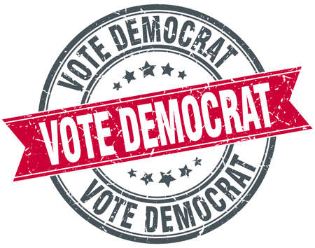 democrat: vote democrat red round grunge vintage ribbon stamp