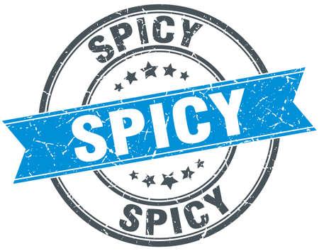 spicy: spicy blue round grunge vintage ribbon stamp