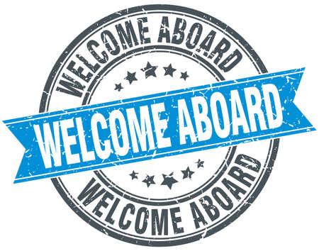 welcome aboard blue round grunge vintage ribbon stamp