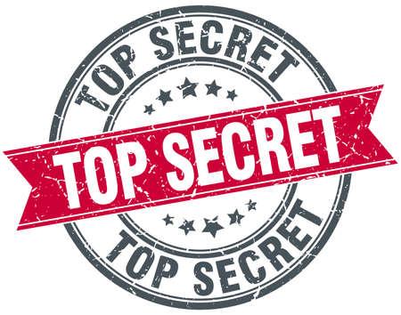 confidential: top secret red round grunge vintage ribbon stamp Illustration