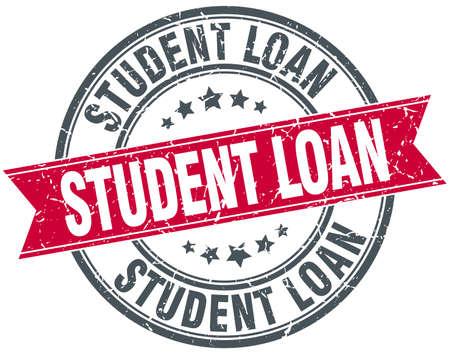 student loan: student loan red round grunge vintage ribbon stamp
