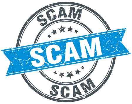 scam: scam blue round grunge vintage ribbon stamp