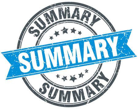 summary: summary blue round grunge vintage ribbon stamp