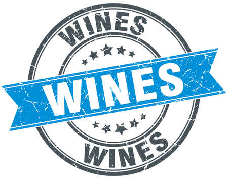 wines: wines blue round grunge vintage ribbon stamp