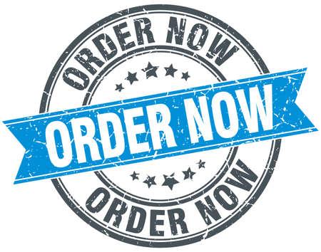 order now: order now blue round grunge vintage ribbon stamp Illustration