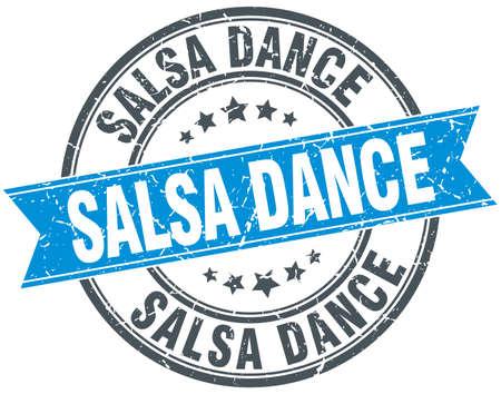 salsa dance: salsa dance blue round grunge vintage ribbon stamp
