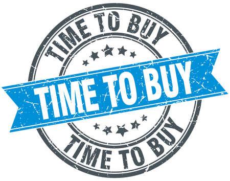 buy time: time to buy blue round grunge vintage ribbon stamp