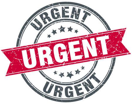 urgent: urgent red round grunge vintage ribbon stamp