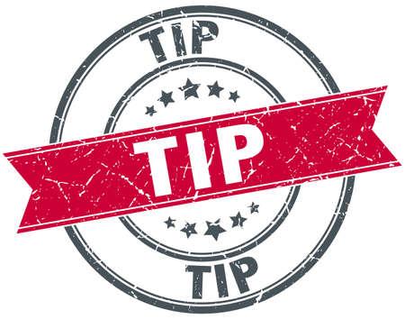 tip: tip red round grunge vintage ribbon stamp