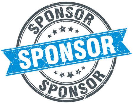 sponsor: sponsor blue round grunge vintage ribbon stamp
