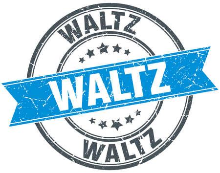 waltz: waltz blue round grunge vintage ribbon stamp