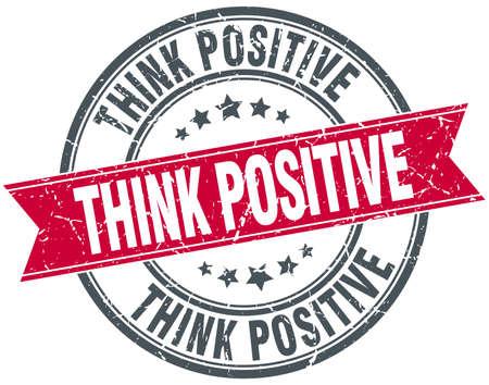 think positive: think positive red round grunge vintage ribbon stamp Illustration