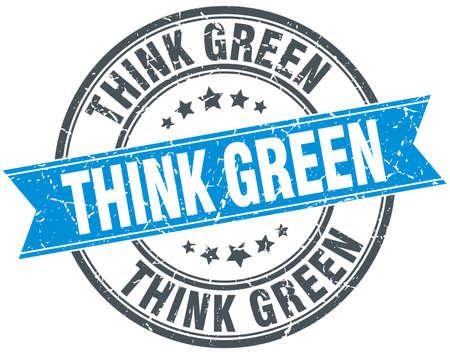 think green: think green blue round grunge vintage ribbon stamp Illustration