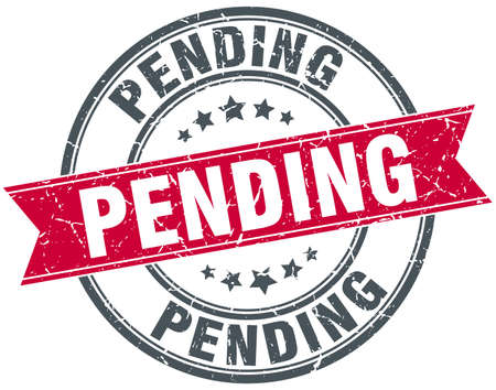 pending: pending red round grunge vintage ribbon stamp
