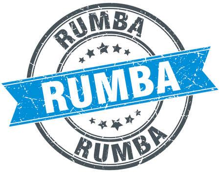 rumba: rumba blue round grunge vintage ribbon stamp