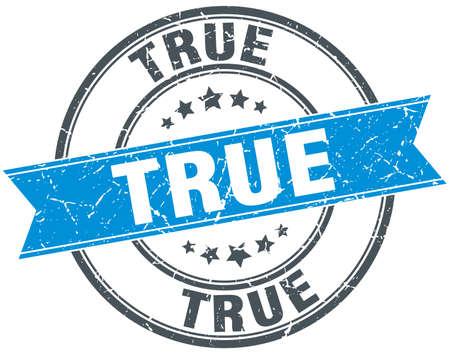 true: true blue round grunge vintage ribbon stamp