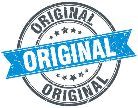 original blue round grunge vintage ribbon stamp