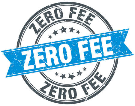 fee: zero fee blue round grunge vintage ribbon stamp