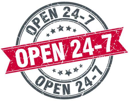 24 7: open 24 7 red round grunge vintage ribbon stamp