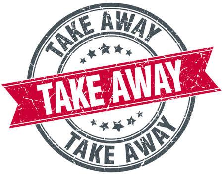 take away: take away red round grunge vintage ribbon stamp