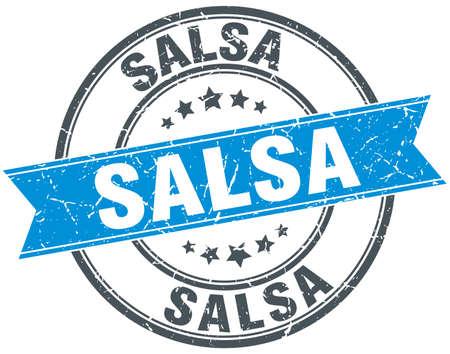 salsa: salsa blue round grunge vintage ribbon stamp