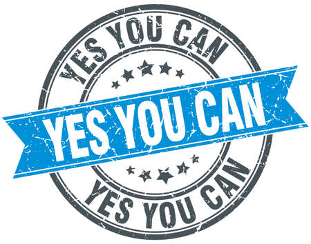 can yes you can: yes you can blue round grunge vintage ribbon stamp