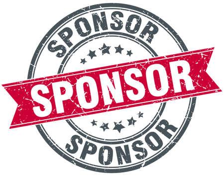 sponsor: sponsor red round grunge vintage ribbon stamp