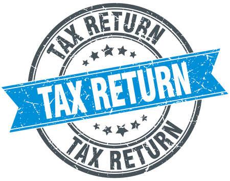tax return: tax return blue round grunge vintage ribbon stamp Illustration
