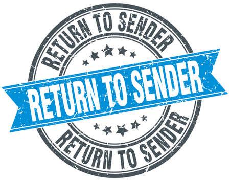 sender: return to sender blue round grunge vintage ribbon stamp Illustration