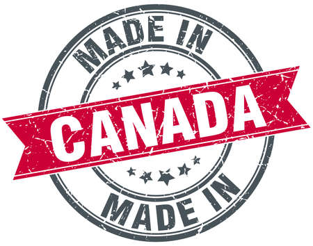 canada stamp: made in Canada red round vintage stamp