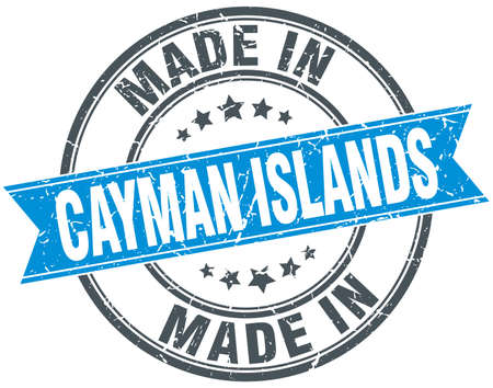 cayman islands: made in Cayman Islands blue round vintage stamp