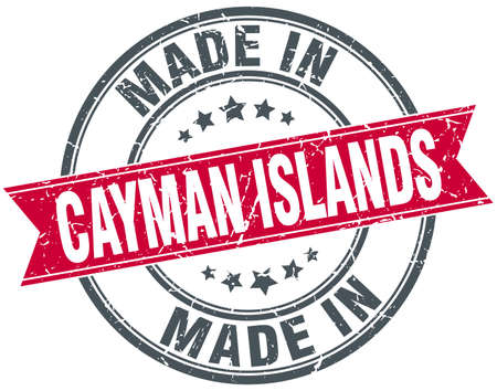 cayman: made in Cayman Islands red round vintage stamp