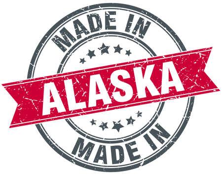 alaska: made in Alaska red round vintage stamp Illustration