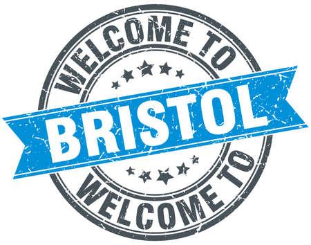 bristol: welcome to Bristol blue round vintage stamp