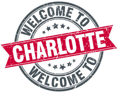 charlotte: welcome to Charlotte red round vintage stamp