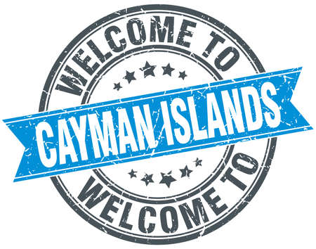 cayman islands: welcome to Cayman Islands blue round vintage stamp