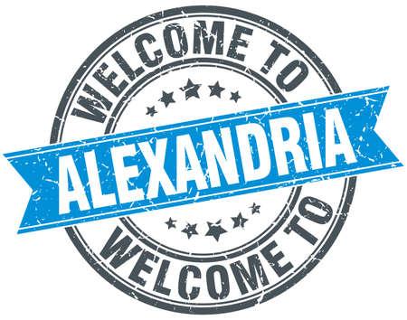 alexandria: welcome to Alexandria blue round vintage stamp