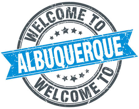 albuquerque: welcome to Albuquerque blue round vintage stamp