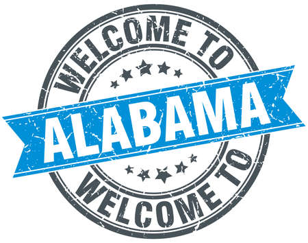 alabama: welcome to Alabama blue round vintage stamp