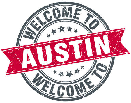 ribbon red: welcome to Austin red round vintage stamp Illustration