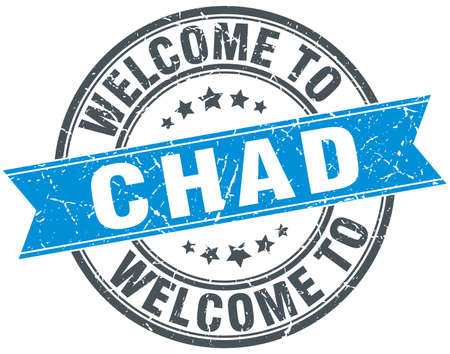 chad: welcome to Chad blue round vintage stamp