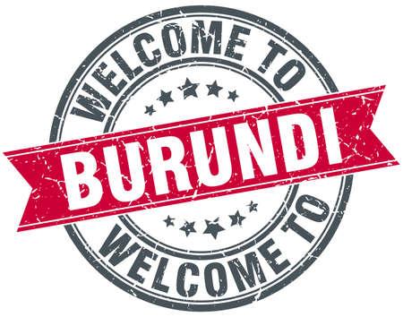 burundi: welcome to Burundi red round vintage stamp