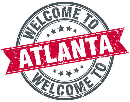 atlanta: welcome to Atlanta red round vintage stamp