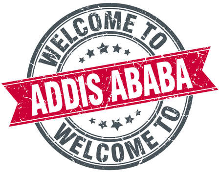 ababa: welcome to Addis Ababa red round vintage stamp