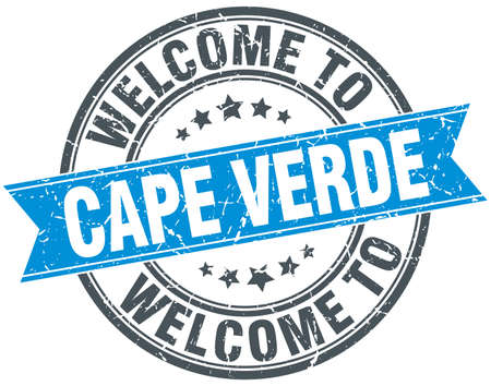 cape verde: welcome to Cape Verde blue round vintage stamp