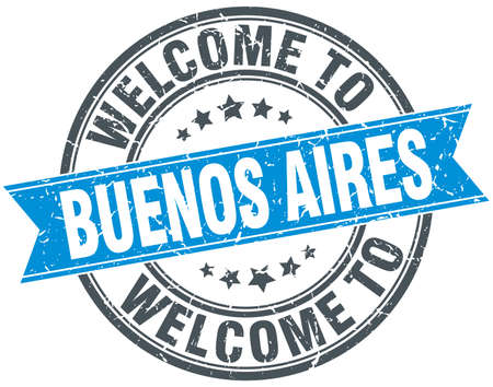 buenos aires: welcome to Buenos Aires blue round vintage stamp Illustration