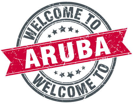 aruba: welcome to Aruba red round vintage stamp