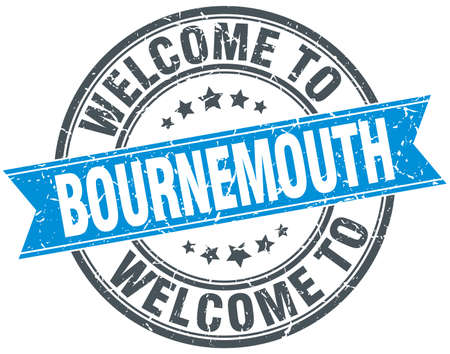bournemouth: welcome to Bournemouth blue round vintage stamp